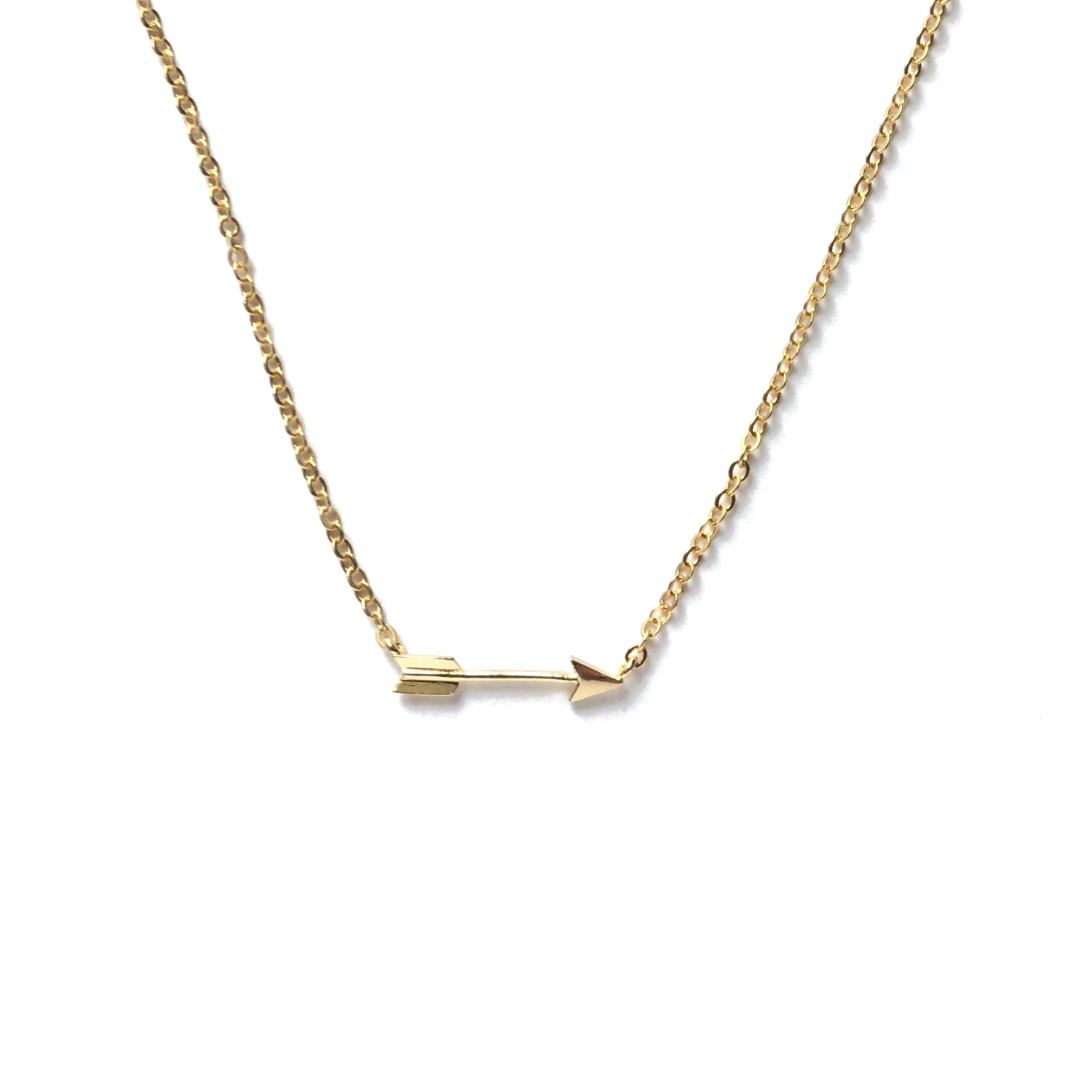 Tiny gold plated arrow necklace