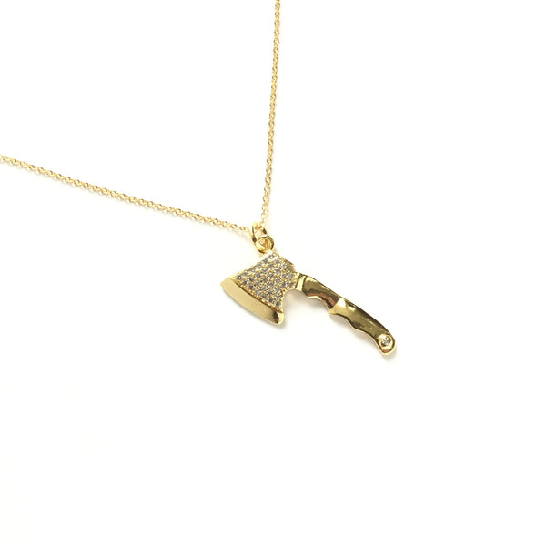 Gold Axe Cubic Zirconia Necklace