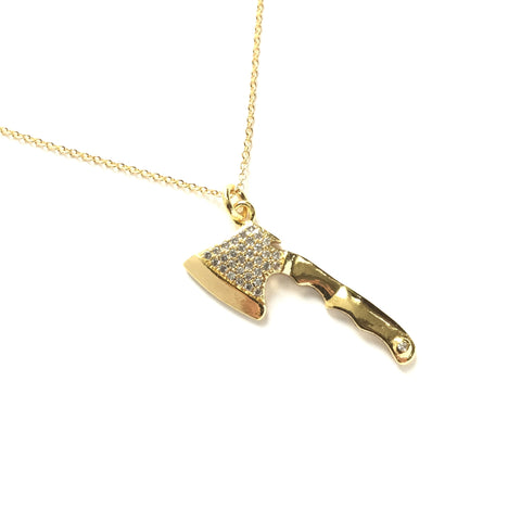 Gold plated axe with tiny cubic zirconia necklace