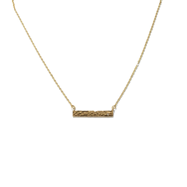Gold plated hammered bar with a tiny cubic zirconia necklace