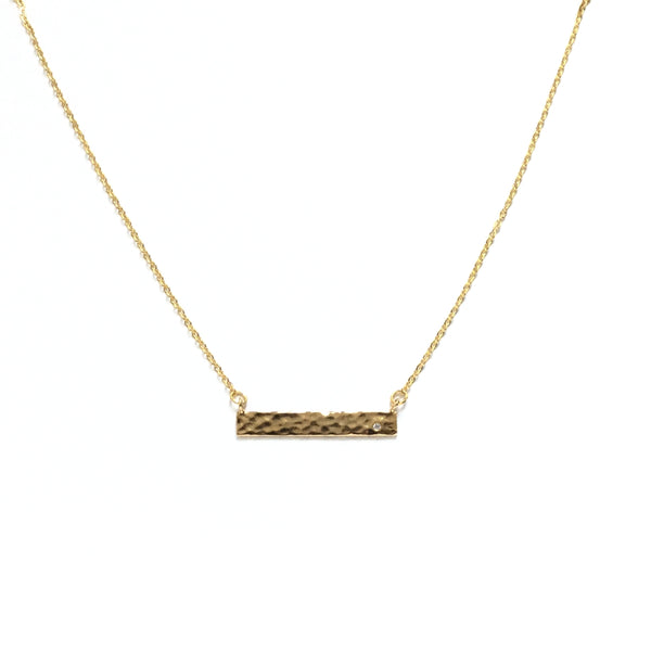Gold Bar Cubic Zirconia Diamond Hammered Necklace