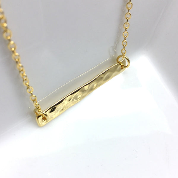 gold layering bar necklace