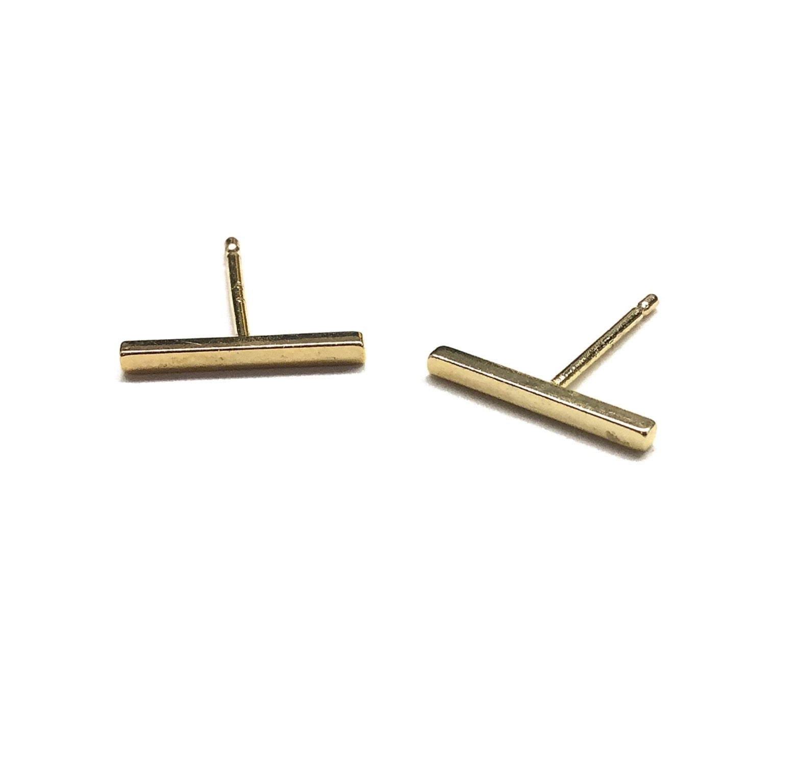 16k gold plated over brass stick bar stud earrings with sterling silver posts