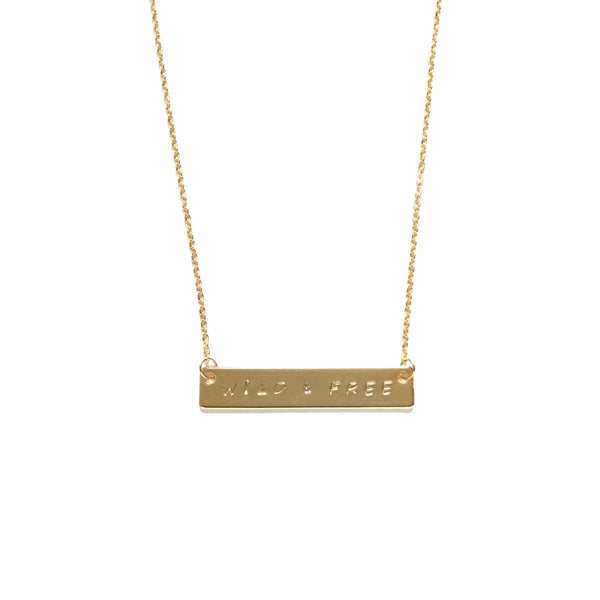 Gold Plated Bar Personalized Inspiration Necklace