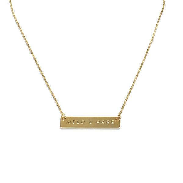 Gold plated inspiration personalized bar necklace