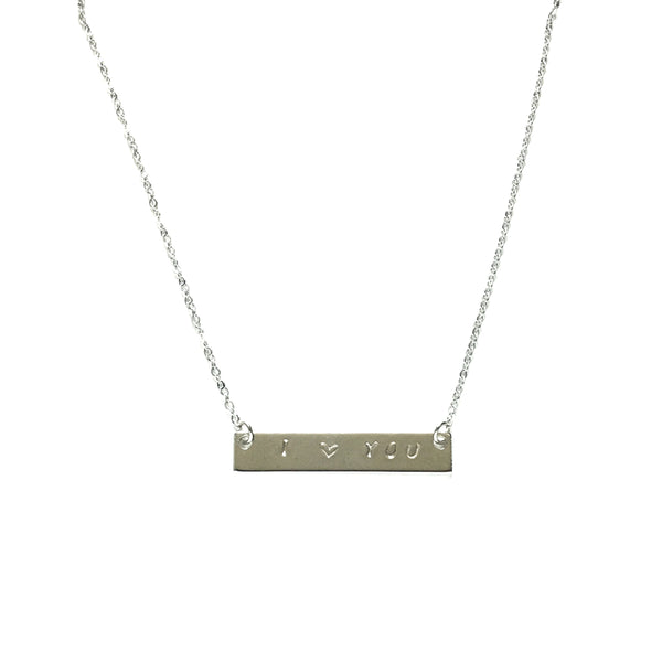 Silver rhodium plated inspiration quote personalized bar necklace with a silver rhodium chain