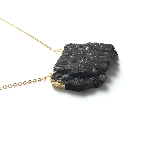 Black Natural Tourmaline Gemstone Necklace