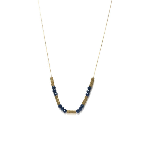 Gold square hematite beads spacers with faceted ocean blue glass bead on a thread chain necklace