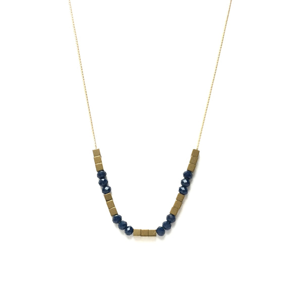 Gold Hematite and Ocean Blue Glass Necklace