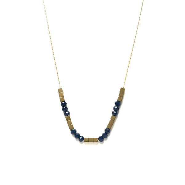 Gold square hematite beads spacers with faceted ocean blue glass bead necklace