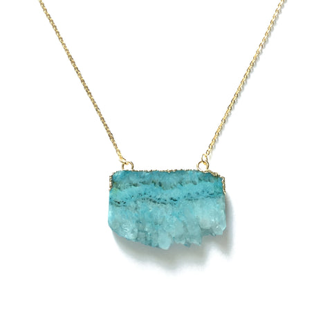 Turquoise agate slice gemstone necklace