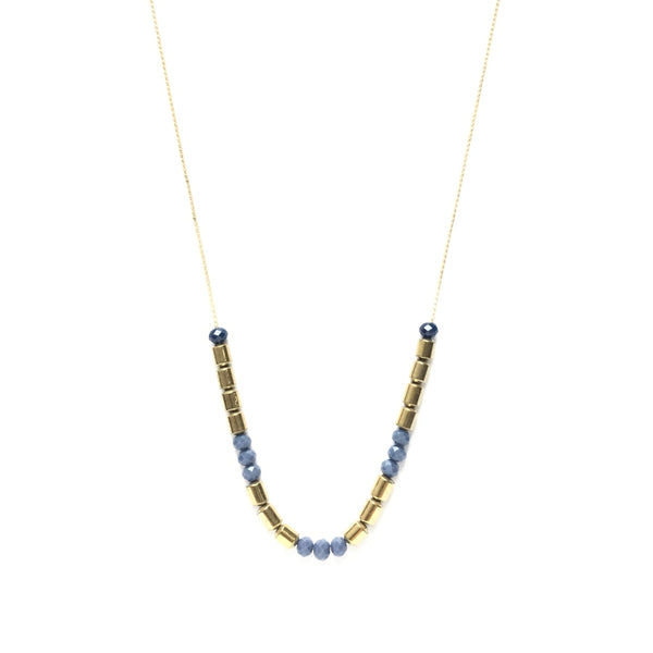 Golden brass tube bead spacers with tiny faceted electric blue glass beads on a thread chain necklace
