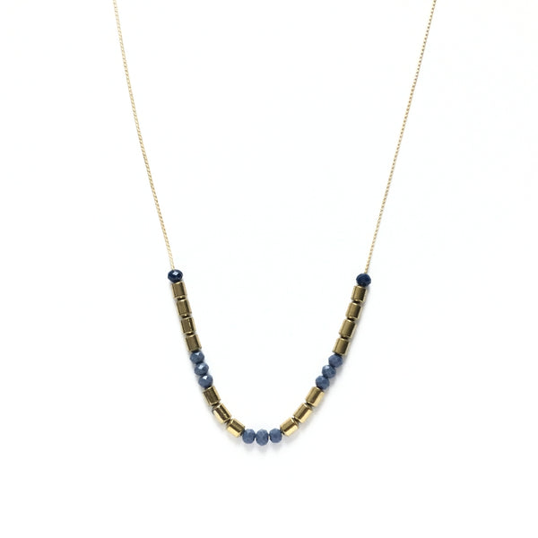 Gold and Electric Blue Glass Necklace