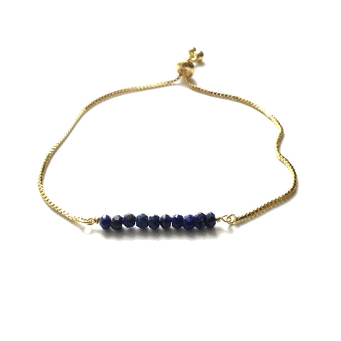 Natural lapis lazuli gemstone bar gold stainless steel box chain adjustable bracelet