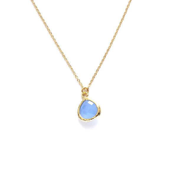 Gold plated framed ice blue faceted glass teardrop pendant necklace