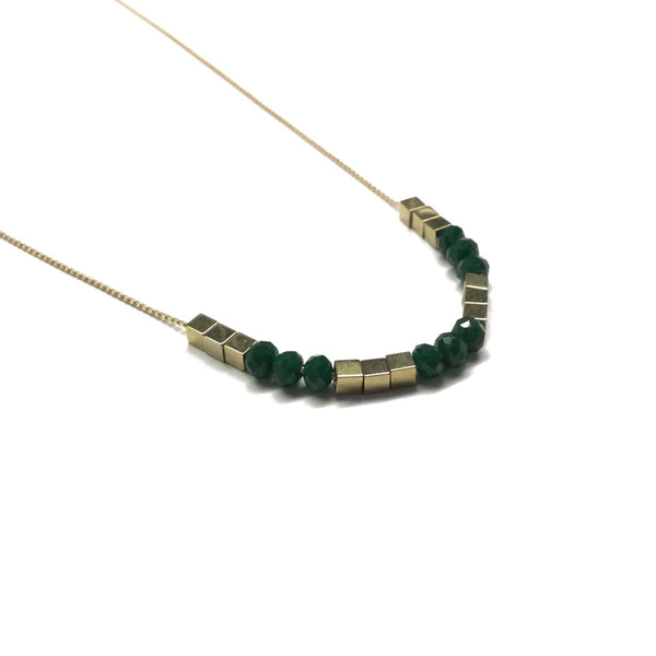Gold square hematite beads spacers with faceted emerald deep green glass bead necklace