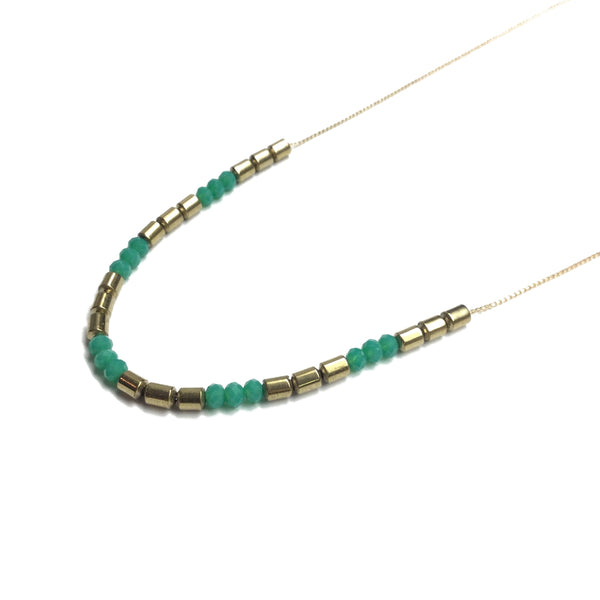 Gold and Electric Green Glass Bead Necklace