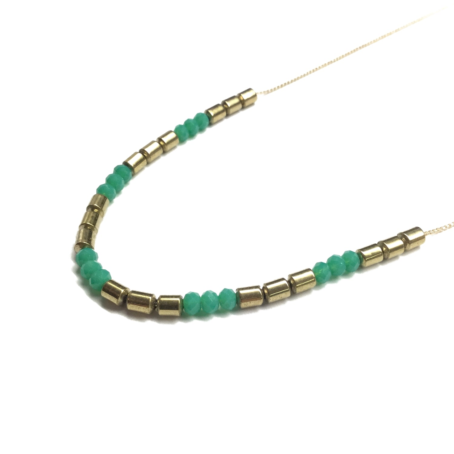 gold green bead necklace