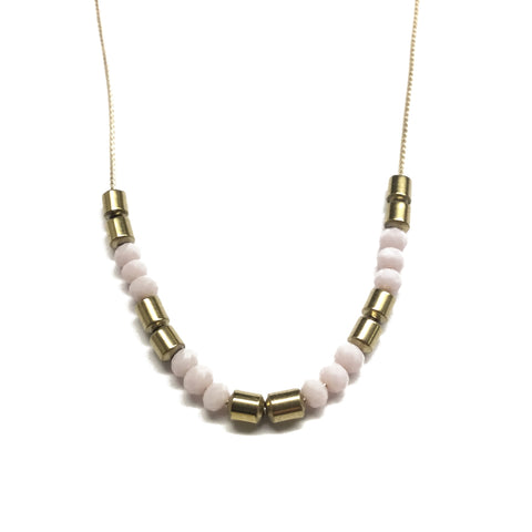 Gold plated pink glass and gold tube bead necklace