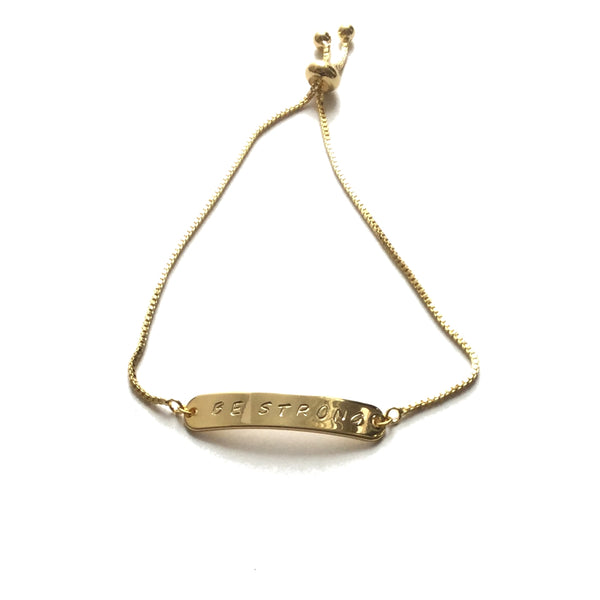 Gold plated inspiration personalized bar bracelet with a gold stainless steel box chain adjustable bracelet