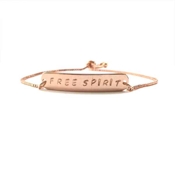 Rose gold plated inspiration personalized bar bracelet with a rose gold stainless steel box chain adjustable bracelet