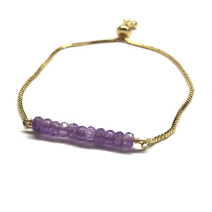 Natural amethyst gemstone bar gold stainless steel box chain adjustable bracelet