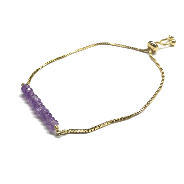 Natural Amethyst Gemstone Bar Bracelet