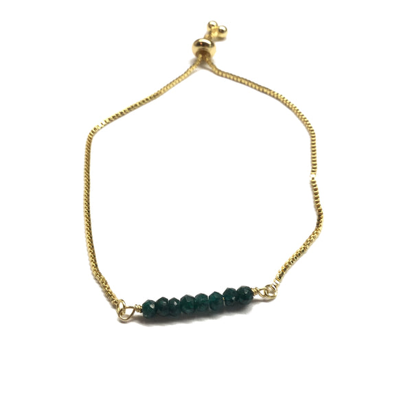 Natural emerald gemstone bar gold stainless steel box chain adjustable bracelet