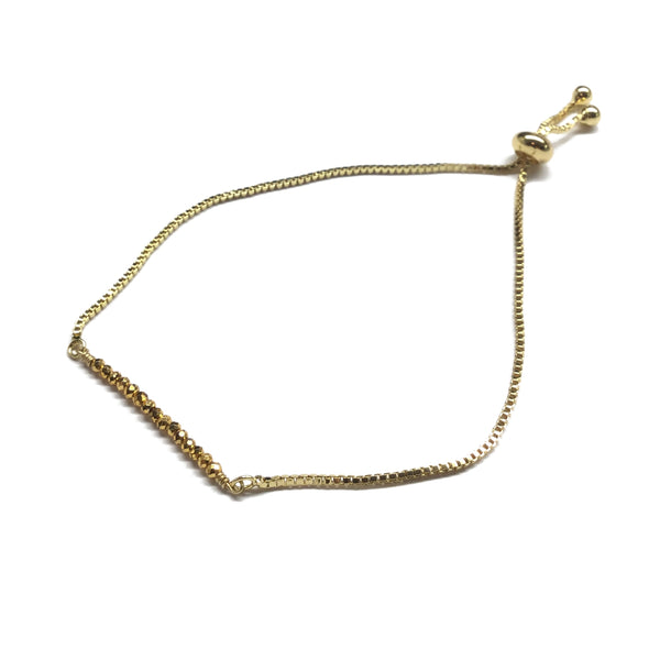 Natural golden pyrite gemstone bar gold stainless steel box chain adjustable bracelet