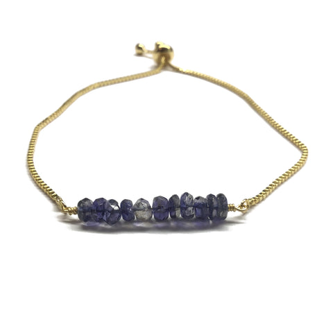 Natural iolite gemstone bar gold stainless steel box chain adjustable bracelet