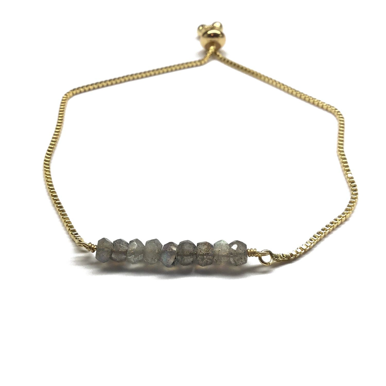 Natural labradorite gemstone bar gold stainless steel box chain adjustable bracelet