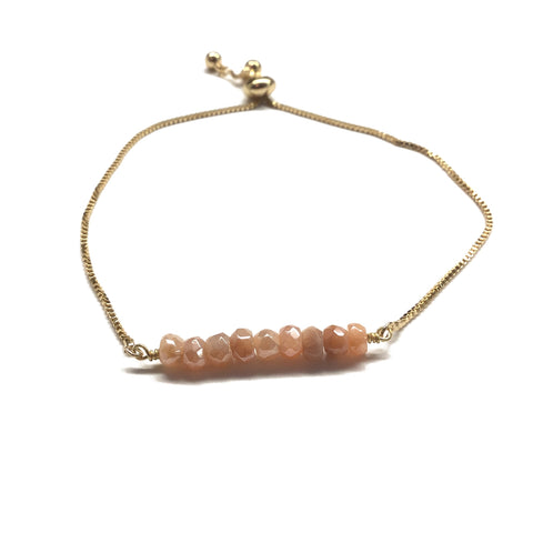 Natural peach moonstone gemstone bar gold stainless steel box chain adjustable bracelet