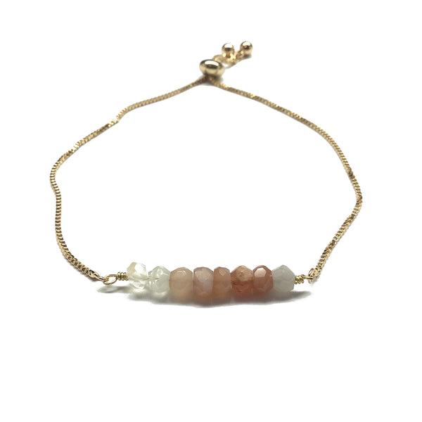 Natural multi moonstone gemstone bar gold stainless steel box chain adjustable bracelet
