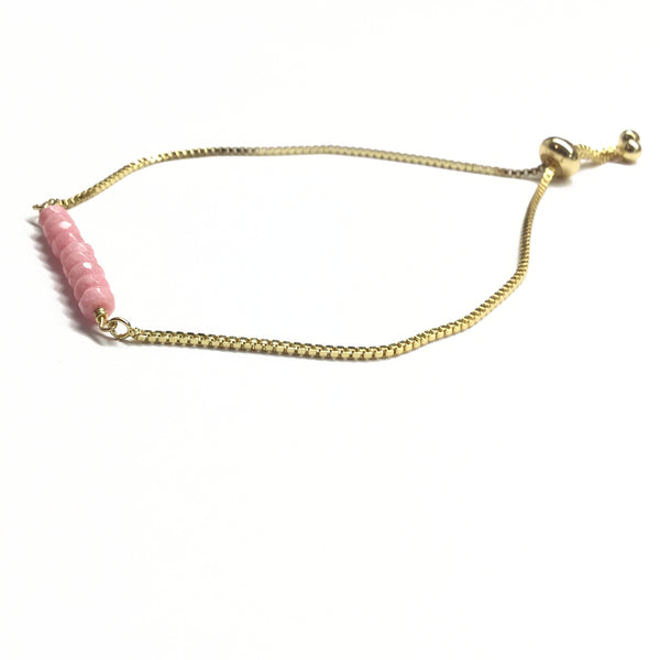 Natural rhodochrosite gemstone bar gold stainless steel box chain adjustable bracelet