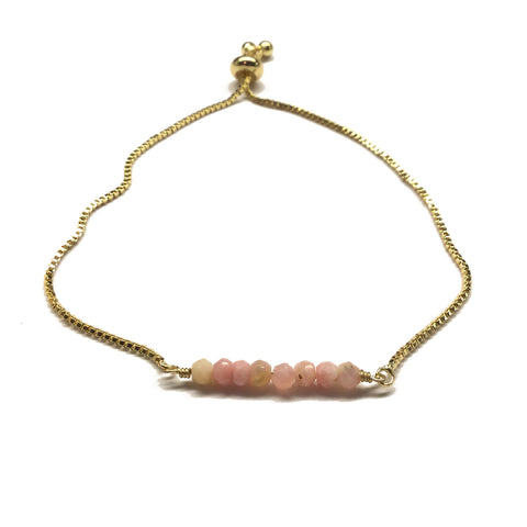 Natural pink opal gemstone bar gold stainless steel box chain adjustable bracelet