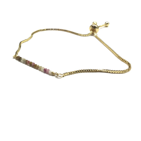 Natural tourmaline gemstone bar gold stainless steel box chain adjustable bracelet