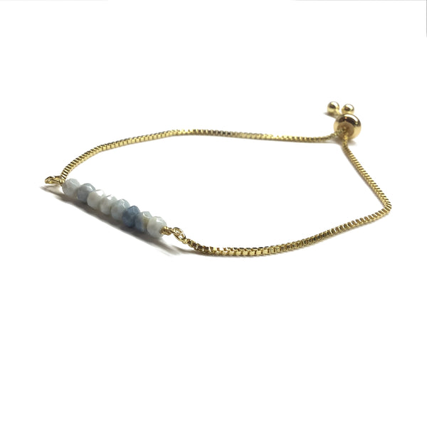 Natural blue denim opal gemstone bar gold stainless steel box chain adjustable bracelet