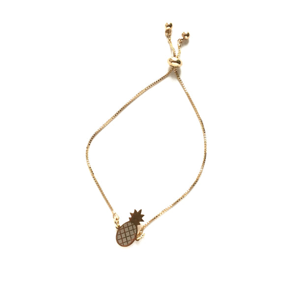 Gold stainless steel pineapple gold stainless steel box chain adjustable bracelet