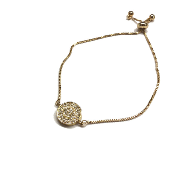 Gold evil eye sparkly cubic zirconia stainless steel adjustable box chain bracelet