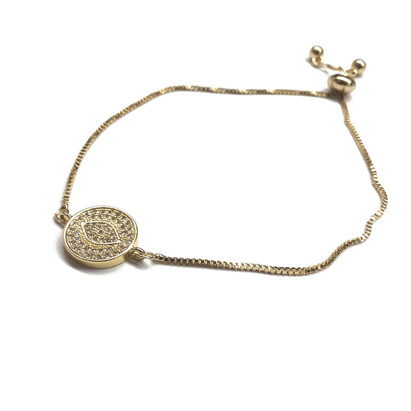 Gold evil eye cubic zirconia stainless steel adjustable box chain bracelet