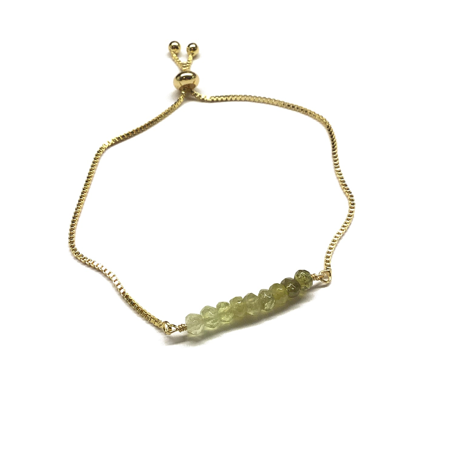 Natural green garnet gemstone bar gold stainless steel box chain adjustable bracelet