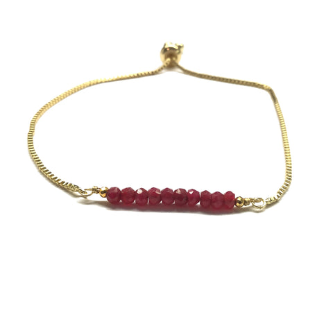 Natural ruby gemstone bar gold stainless steel box chain adjustable bracelet