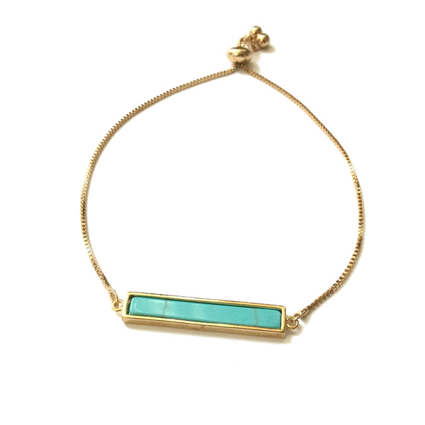 Turquoise bar adjustable bracelet