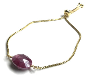 gemstone oval ruby adjustable gold chain bracelet