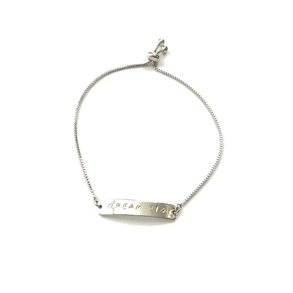 Personalized Silver Bar Adjustable Bracelet