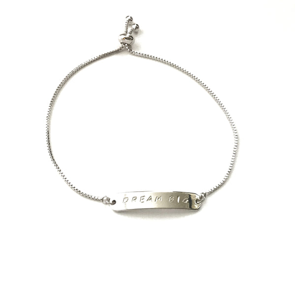 Silver rhodium plated inspiration personalized bar bracelet with a silver stainless steel box chain adjustable bracelet