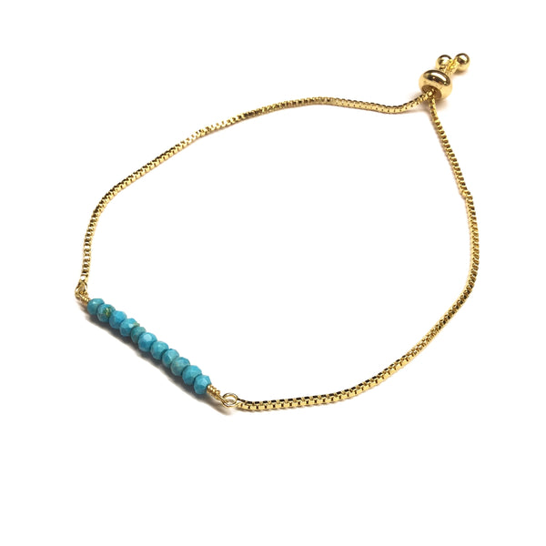 Natural turquoise gemstone bar gold stainless steel box chain adjustable bracelet