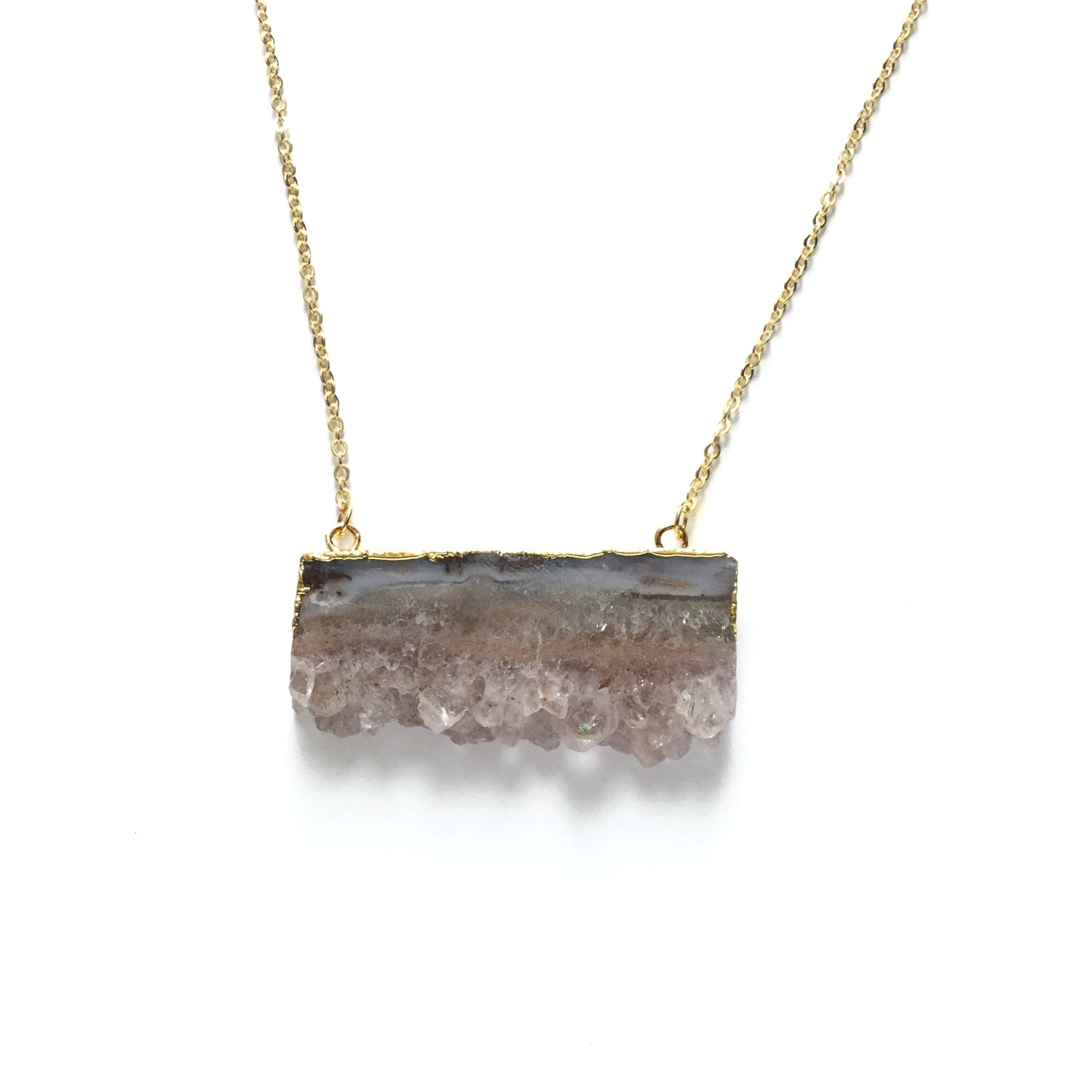 Natural Occo gemstone druzy slice agate gold electroplated pendant necklace