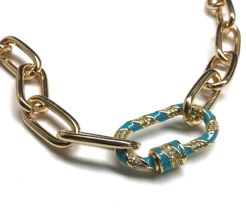 carabiner turquoise lock sparkly paperclip oval gold chain