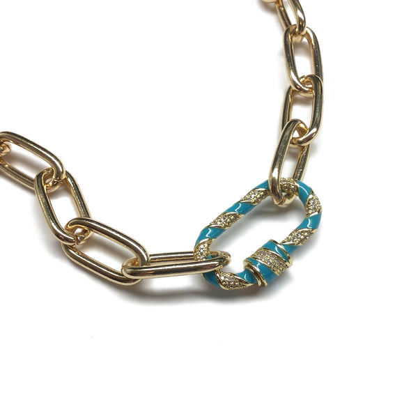 Carabiner Gold Chunky Chain Paperclip Necklace